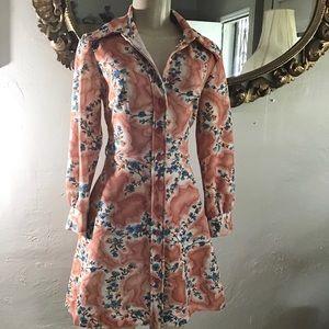 70s Peachy Floral Dress
